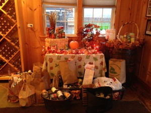 Donation items at Niagara Landing Wine Cellars