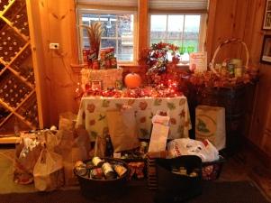 Donation items at Niagara Landing Wine Cellars