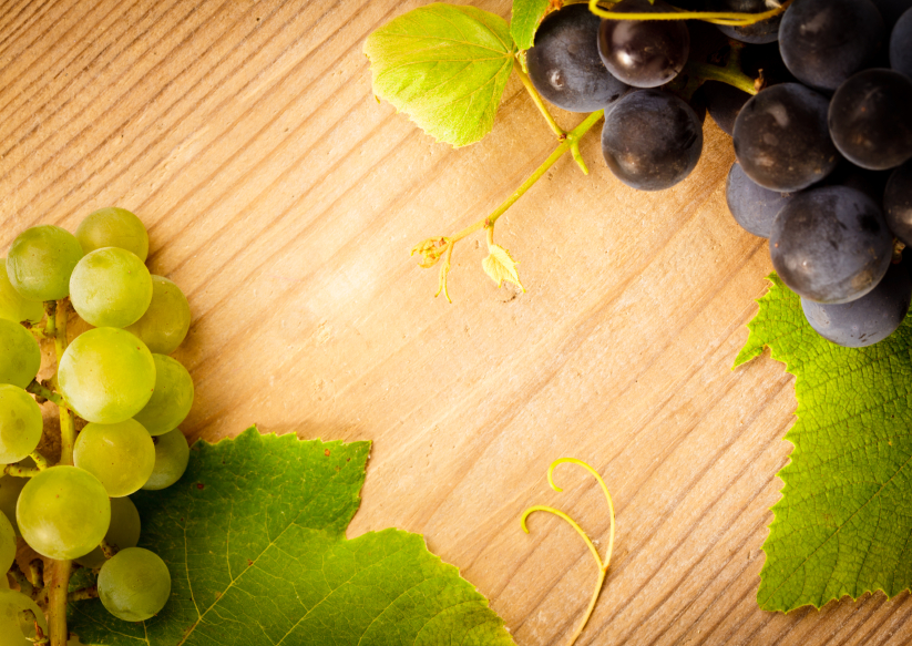Grape on wooden table