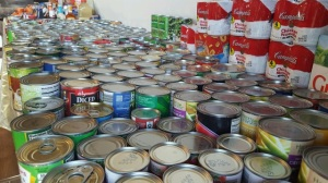 Canned goods donated during Share the Bounty in 2015.